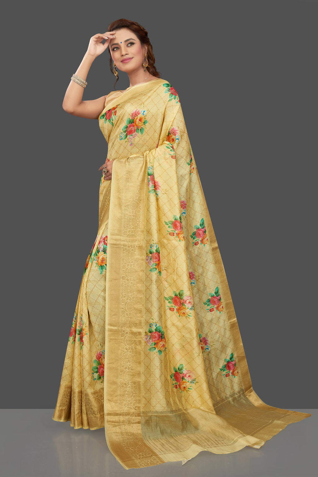 Shop beautiful lemon yellow floral Muga silk sari online in USA with zari border. Shop beautiful tussar sarees, hand embroidered saris, georgette sarees, designer sarees in USA from Pure Elegance Indian fashion store in USA. Shop online now.-full view