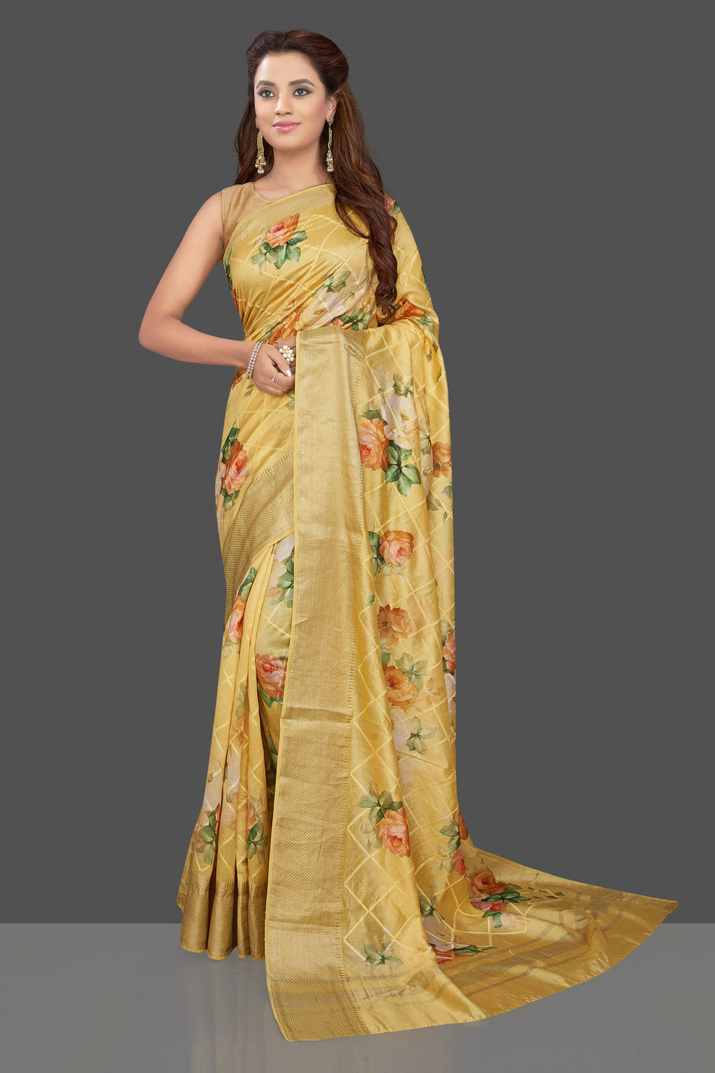 Buy beautiful yellow floral print muga silk saree online in USA with zari border. Make you presence felt with your Indian style on special occasions in beautiful designer sarees, handwoven sarees, muga sarees, tussar silk sarees from Pure Elegance Indian fashion store in USA.-full view