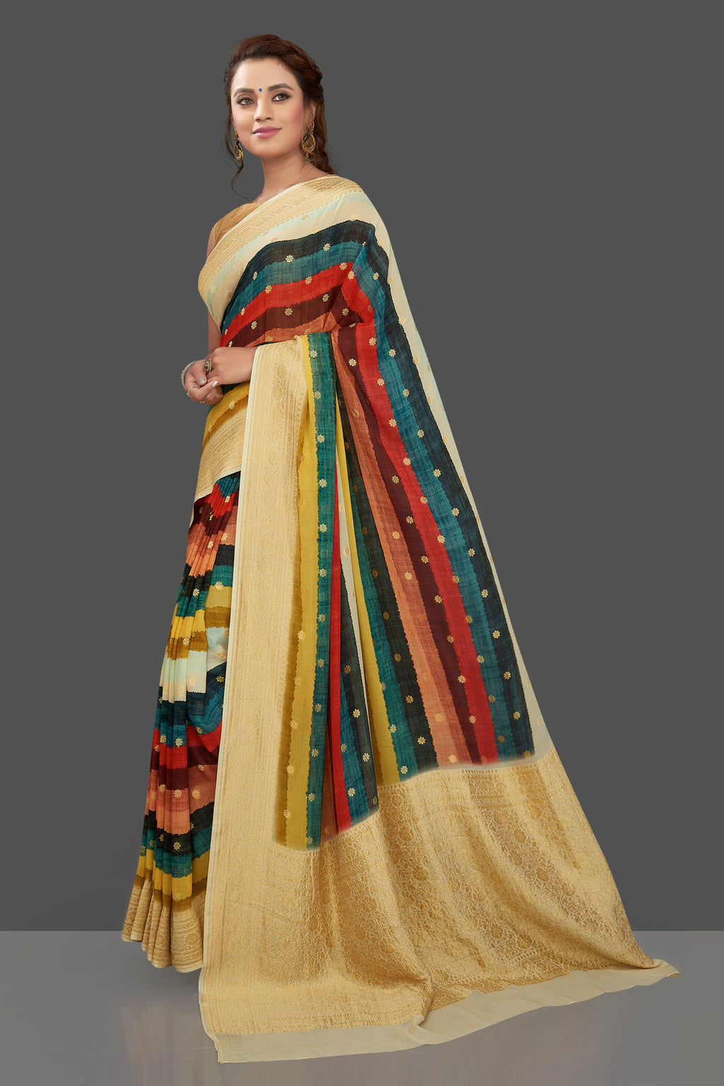 Shop beautiful multicolor stripes geogette Banarasi saree online in USA with zari border. Shop for weddings and special occasions stunning Banarasi sarees, hand embroidered saris, crepe sarees, designer sarees in USA from Pure Elegance Indian clothing store in USA. Shop online now.-full view