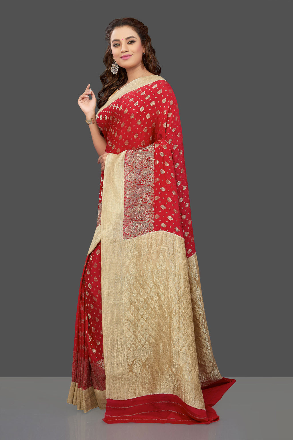 Buy gorgeous red color crepe sari online in USA with zari buta and zari border. Shop for weddings and special occasions stunning tussar sarees, hand embroidered saris, crepe sarees, designer sarees in USA from Pure Elegance Indian clothing store in USA. Shop online now.-full view