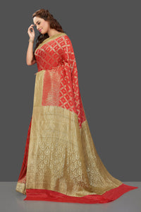 Shop stunning bright red color crepe saree online in USA with zari work. Shop for weddings and special occasions stunning tussar sarees, hand embroidered saris, crepe sarees, designer sarees in USA from Pure Elegance Indian clothing store in USA. Shop online now.-full view