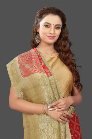 Shop stunning bright red color crepe saree online in USA with zari work. Shop for weddings and special occasions stunning tussar sarees, hand embroidered saris, crepe sarees, designer sarees in USA from Pure Elegance Indian clothing store in USA. Shop online now.-closeup