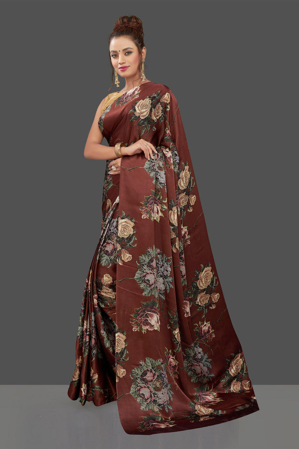 Buy gorgeous brown floral print crepe silk sari online in USA. Shop for weddings and special occasions stunning crepe sarees, printed saris, georgette sarees, designer sarees in USA from Pure Elegance Indian clothing store in USA. Shop online now.-full view
