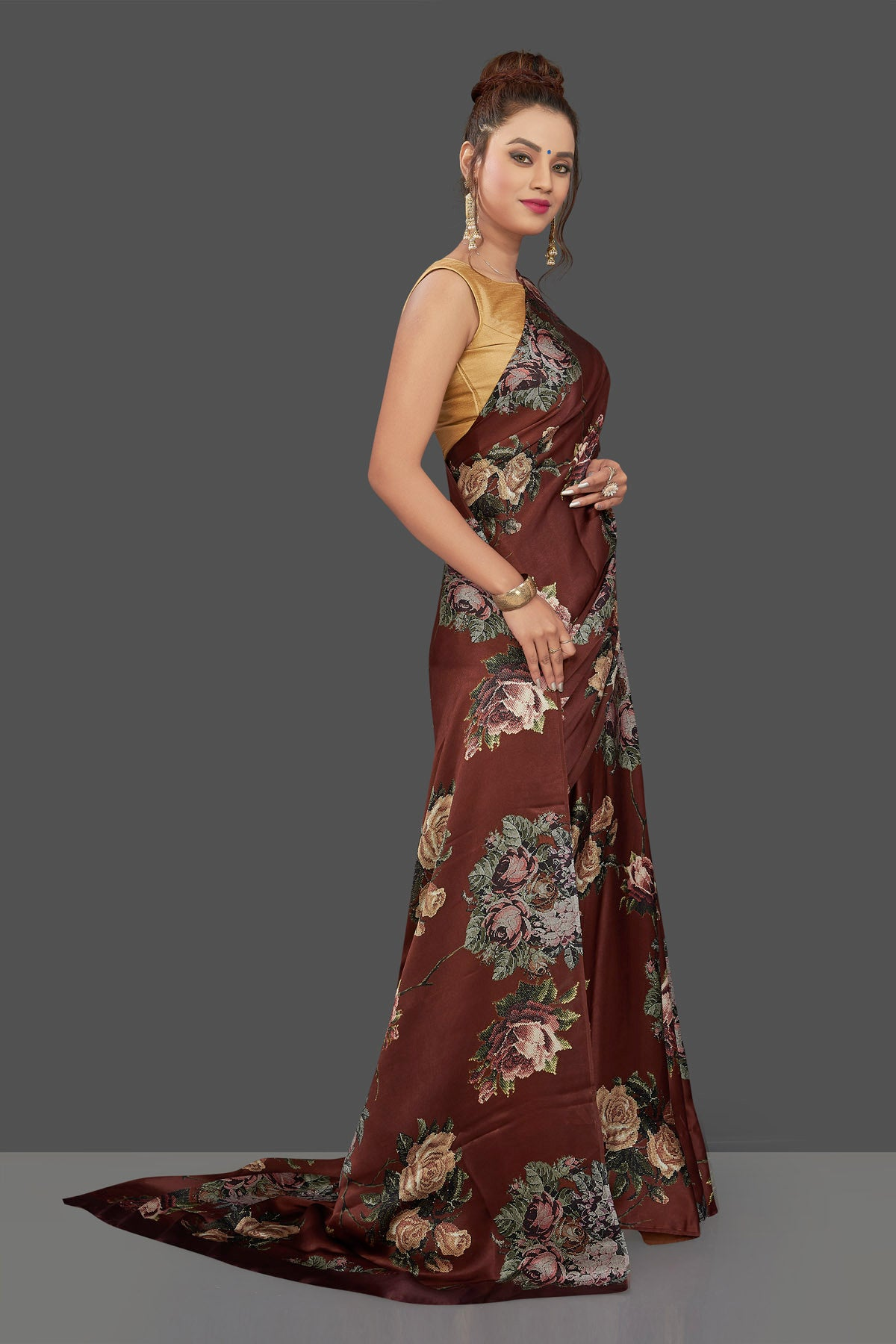 Buy gorgeous brown floral print crepe silk sari online in USA. Shop for weddings and special occasions stunning crepe sarees, printed saris, georgette sarees, designer sarees in USA from Pure Elegance Indian clothing store in USA. Shop online now.-side