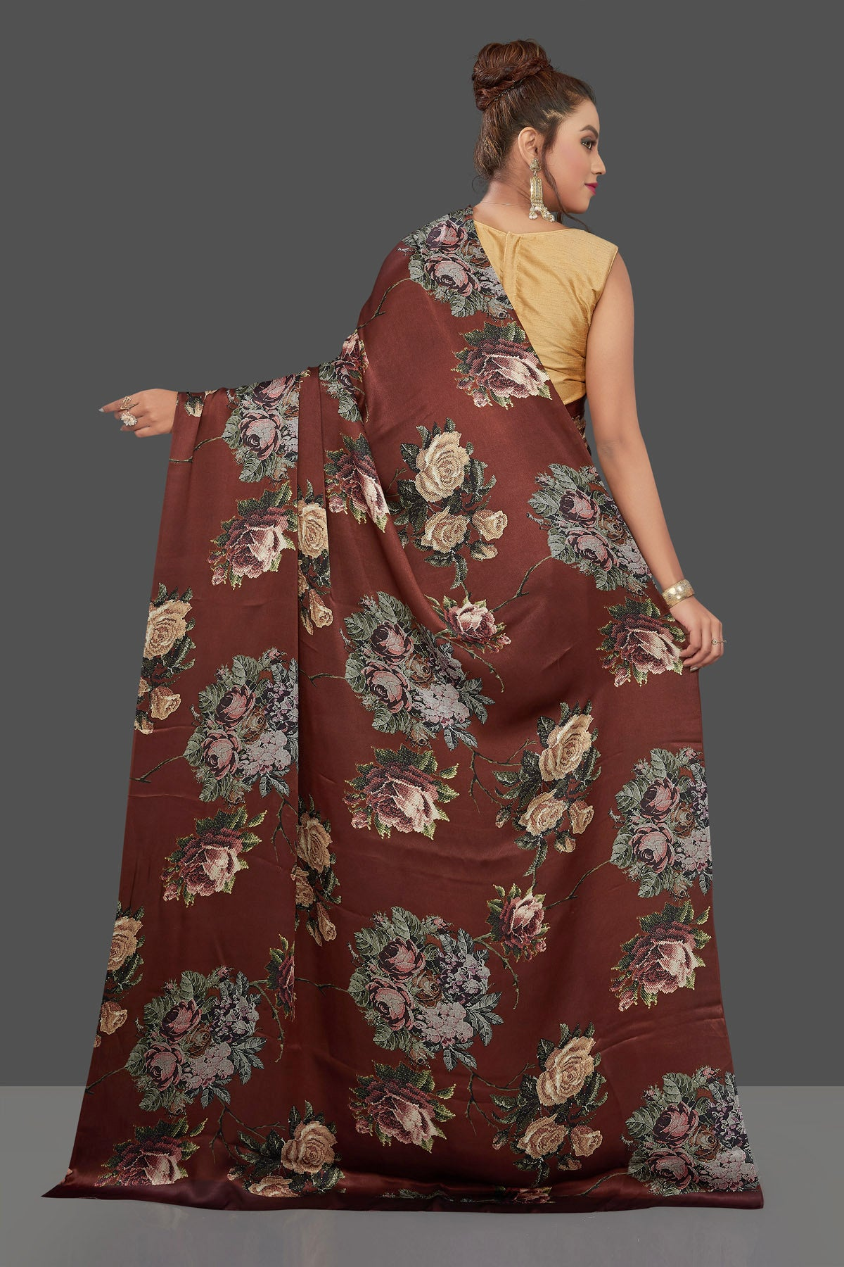 Buy gorgeous brown floral print crepe silk sari online in USA. Shop for weddings and special occasions stunning crepe sarees, printed saris, georgette sarees, designer sarees in USA from Pure Elegance Indian clothing store in USA. Shop online now.-back