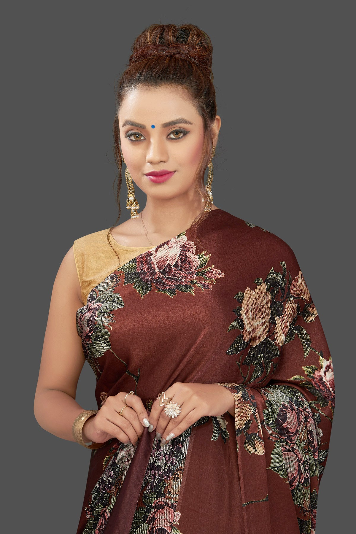 Buy gorgeous brown floral print crepe silk sari online in USA. Shop for weddings and special occasions stunning crepe sarees, printed saris, georgette sarees, designer sarees in USA from Pure Elegance Indian clothing store in USA. Shop online now.-closeup