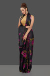 Shop beautiful black crepe silk sari online in USA with pink rose print. Shop for weddings and special occasions stunning crepe sarees, printed saris, georgette sarees, designer sarees in USA from Pure Elegance Indian clothing store in USA Shop online now.-full view