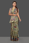 Buy beautiful pistachio green floral print crepe silk saree online in USA. Elevate your Indian style on special occasions in beautiful designer sarees, crepe silk sarees, georgette saris, printed sarees from Pure Elegance Indian clothing store in USA.-full view