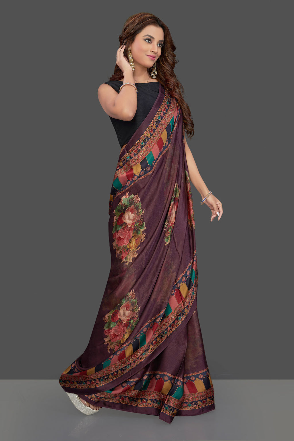Buy gorgeous purple colorful floral print crepe sari online in USA with multicolor border. Make you presence felt with your Indian style on special occasions in beautiful designer sarees, crepe sarees, georgette saris, printed sarees from Pure Elegance Indian fashion store in USA.-side
