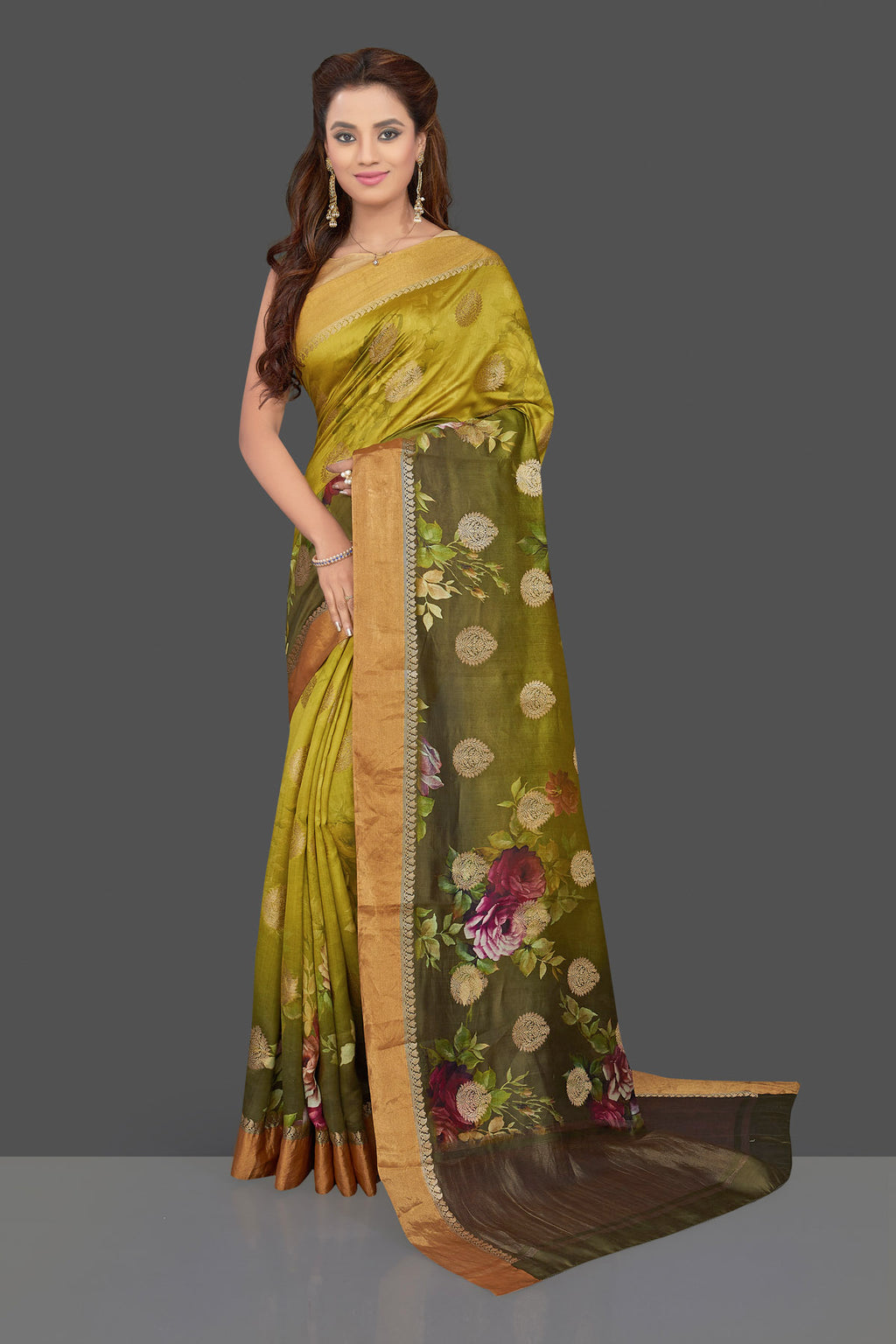 Buy stunning ombre green floral print muga silk saree online in USA with zari buta and zari border. Make you presence felt with your Indian style on special occasions in beautiful designer sarees, crepe sarees, muga silk saris, handwoven sarees from Pure Elegance Indian fashion store in USA.-full view
