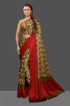 Buy stunning brown floral crepe silk sari online in USA with solid red border. Elevate your Indian style on special occasions in beautiful designer sarees, crepe silk sarees, georgette saris, printed sarees from Pure Elegance Indian clothing store in USA.-full view