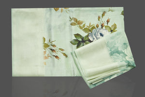 Shop beautiful mint green muga silk saree online in USA with green floral print. Make you presence felt with your Indian style on special occasions in beautiful handloom sarees, pure silk sarees, muga silk saris, printed saris from Pure Elegance Indian fashion store in USA.-blouse