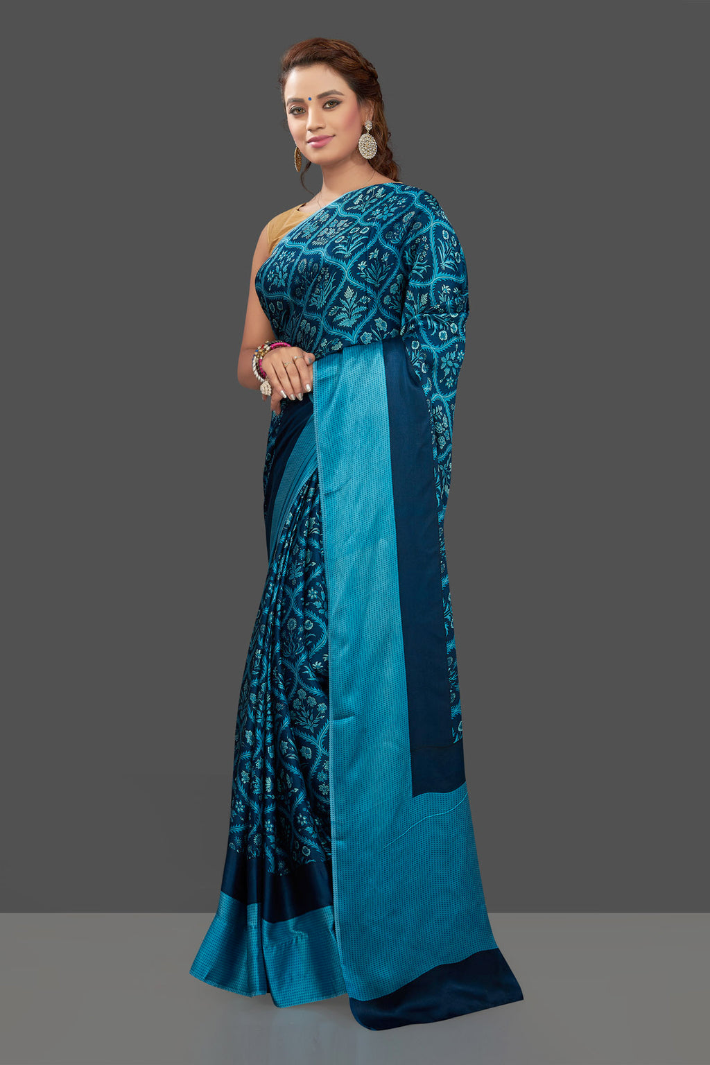 Buy stunning dark blue Mughal print crepe silk saree online in USA. Elevate your Indian style on special occasions in beautiful designer sarees, crepe silk sarees, georgette saris, printed sarees from Pure Elegance Indian clothing store in USA.-full view