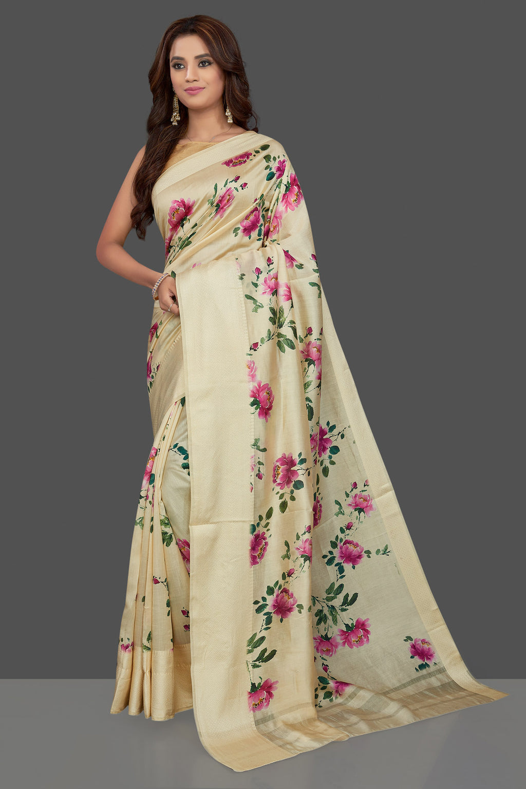 Buy beautiful cream floral print muga silk saree online in USA. Make you presence felt with your Indian style on special occasions in beautiful handloom sarees, pure silk sarees, muga silk saris, printed saris from Pure Elegance Indian fashion store in USA.-full view