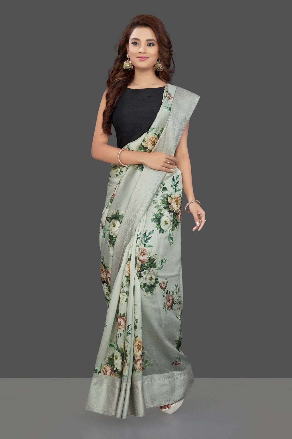 Buy gorgeous light grey floral print muga silk saree online in USA. Make you presence felt with your Indian style on special occasions in beautiful handloom sarees, pure silk sarees, muga silk sarees, printed saris from Pure Elegance Indian fashion store in USA.-full view