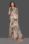 Buy beautiful powder pink floral print Kota silk saree online in USA. Make you presence felt with your Indian style on special occasions in beautiful handloom sarees, pure silk sarees, Kota silk sarees, printed saris from Pure Elegance Indian fashion store in USA.-full view