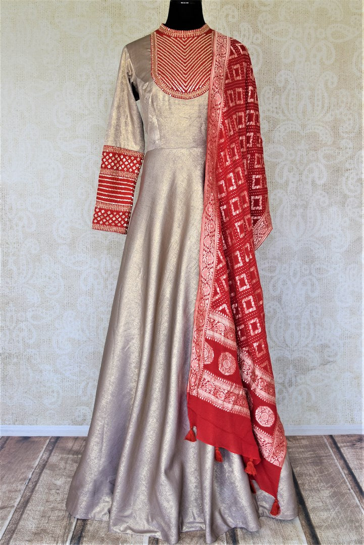 Buy beautiful metallic embroidered shimmer Anarkali online in USA with red dupatta. Elevate your ethnic style on weddings and festive occasions with stunning designer Anarkali suits, sharara suits, palazzo suits, salwar suits from Pure Elegance Indian fashion boutique in USA.-full view
