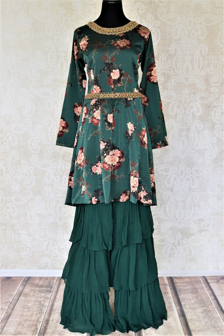 Buy dark green floral hand embroidered silk sharara suit online in USA. Elevate your ethnic style on weddings and festive occasions with stunning designer Anarkali suits, sharara suits, palazzo suits, salwar suits from Pure Elegance Indian fashion boutique in USA.-full view