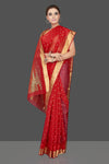 Buy beautiful red Chanderi silk saree online in USA with golden zari border. Flaunt Indian fashion on special occasions in gorgeous chanderi sarees, pure silk sarees, Banarasi sarees, zari work sarees from Pure Elegance Indian fashion boutique in USA.-full view