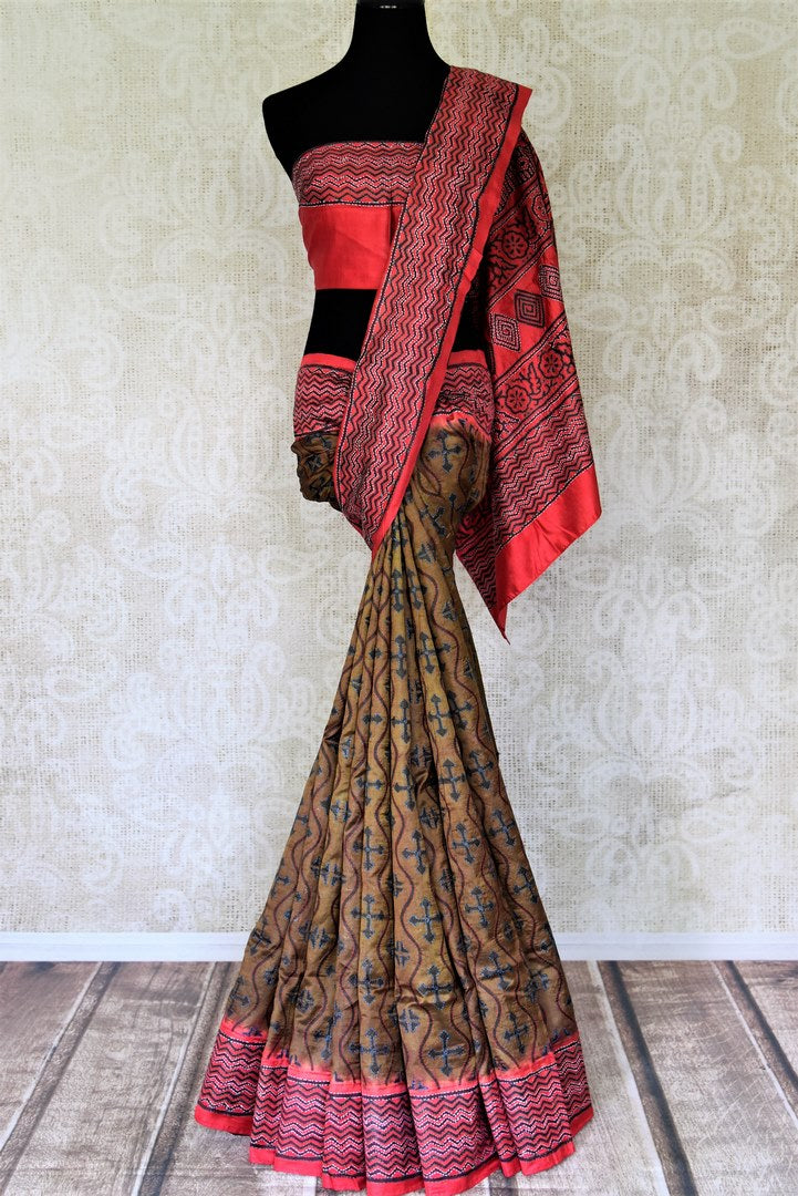 Shop elegant brown acid print silk saree online in USA with Kantha work. Go for a rich traditional style on weddings and special occasions with stunning silk sarees, handwoven saris, embroidered sarees from Pure Elegance Indian saree store in USA.-full view