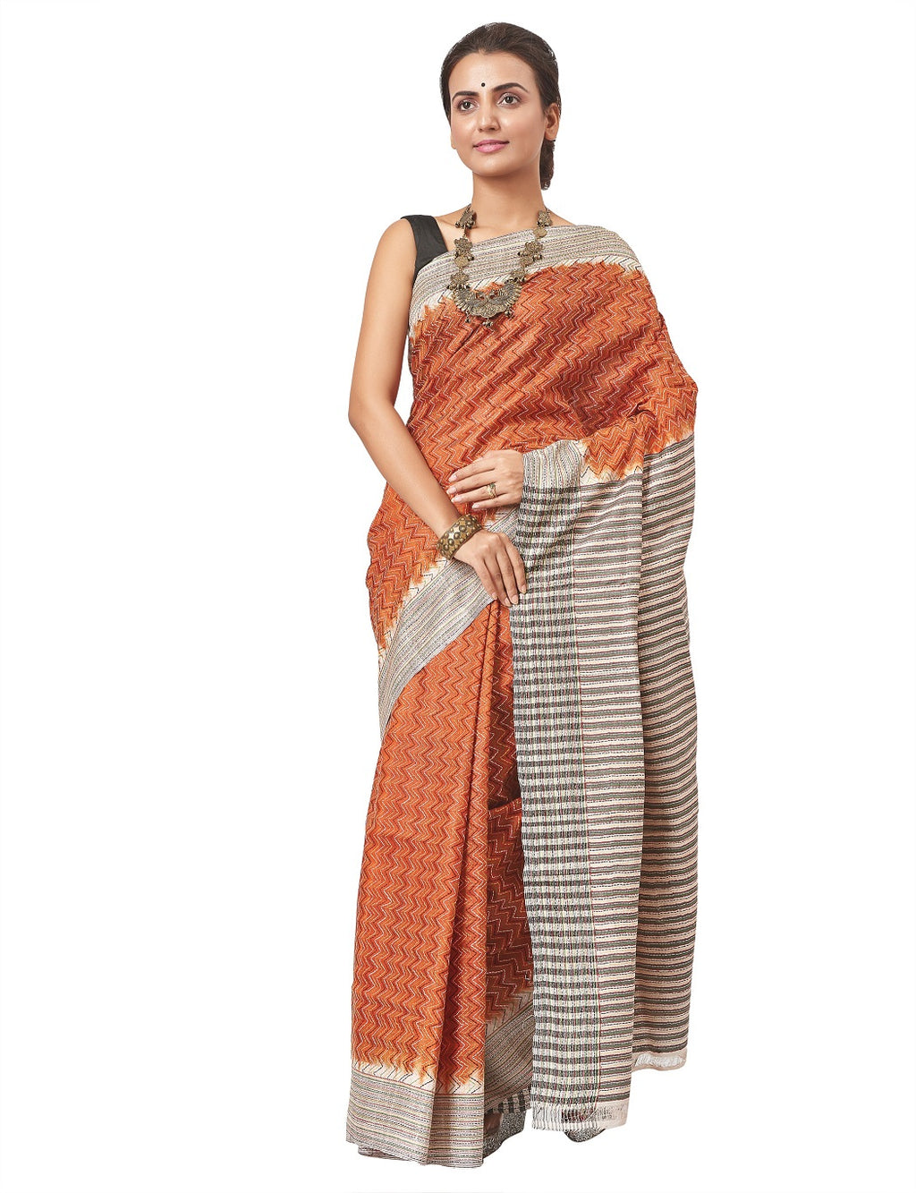 Shop lovely orange printed silk saree online in USA with Kantha work. Enhance your festive look with pure silk sarees, embroidered sarees, designer sarees in USA from Pure Elegance Indian clothing store in USA.-full view