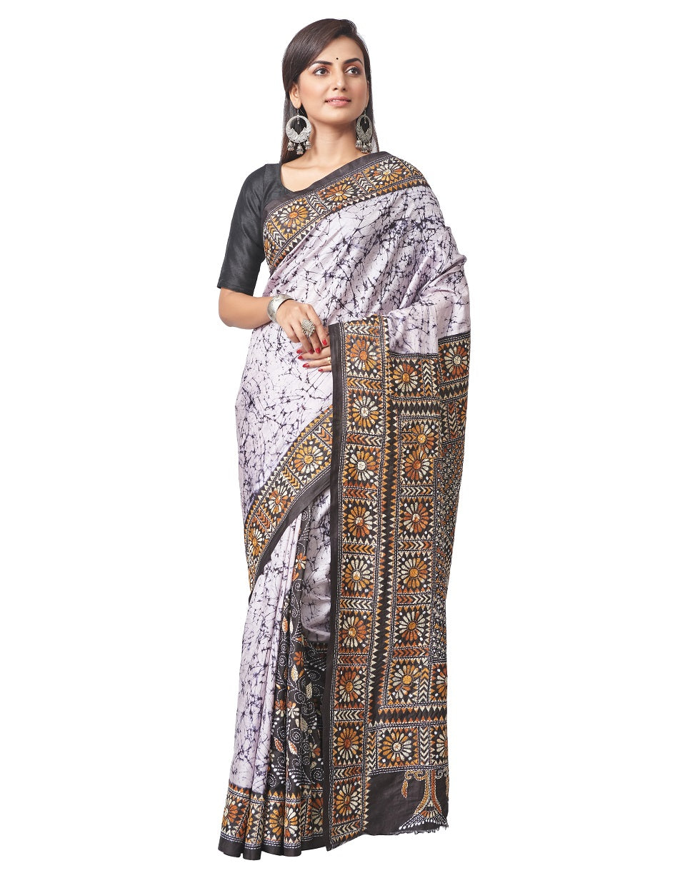 Buy attractive white Batik print silk saree online in USA with Kantha embroidery. Enhance your festive look with pure silk sarees, embroidered sarees, designer sarees in USA from Pure Elegance Indian clothing store in USA.-full view