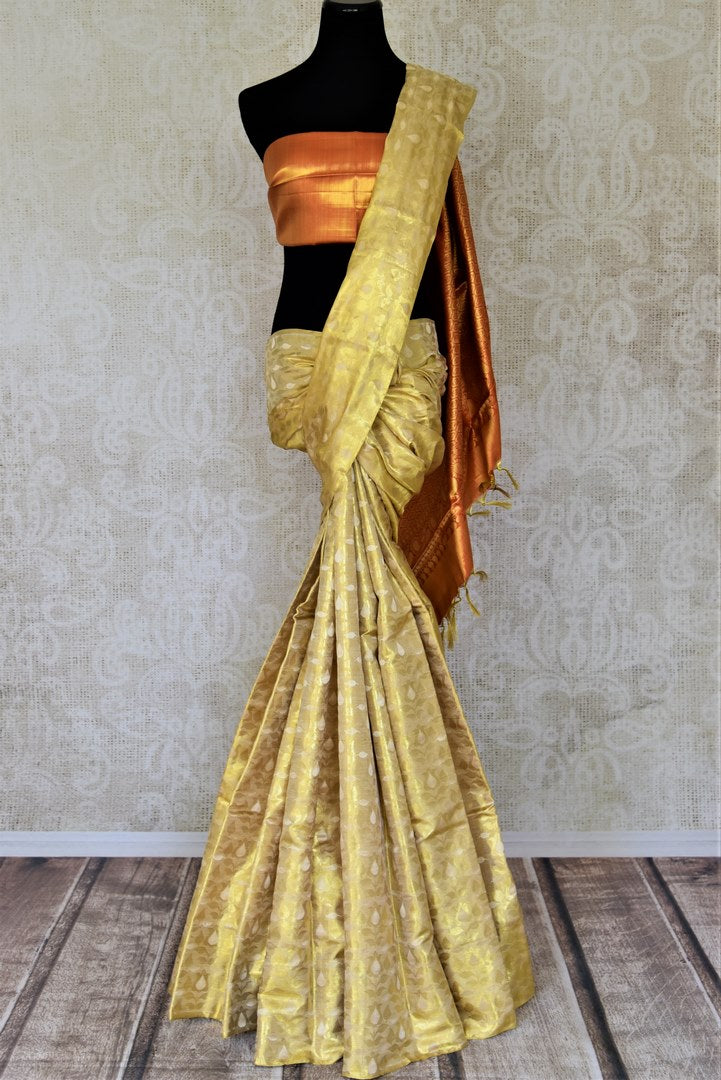Buy beautiful golden zari work Kanjivaram saree online in USA with red zari pallu. Shop for weddings and festive occasions stunning handwoven silk sarees, pure silk sarees, Kanjeevaram sarees from Pure Elegance Indian saree store in USA.-full view