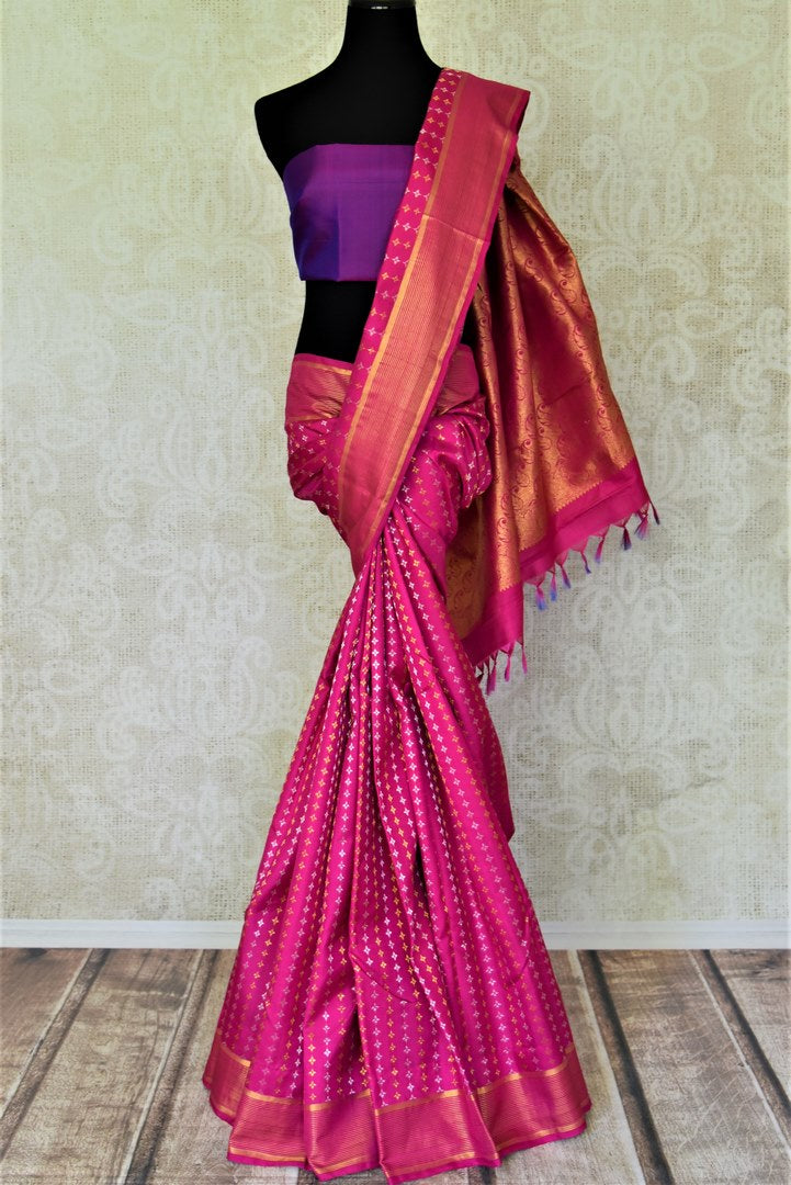 Shop beautiful pink Kanjivaram saree online in USA with silver and golden zari buta. Shop for weddings and festive occasions stunning handwoven silk sarees, pure silk sarees, Kanjeevaram sarees from Pure Elegance Indian saree store in USA.-full view