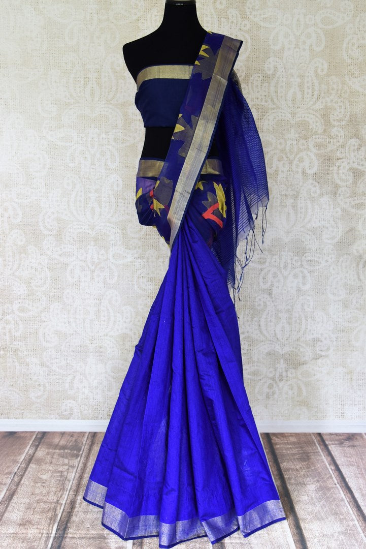 Buy gorgeous indigo blue floral weave design matka silk saree online in USA. Shop for weddings and special occasions beautiful silk sarees, soft silk sarees, pure zari work sarees, handwoven sarees from Pure Elegance Indian saree store in USA.-full view