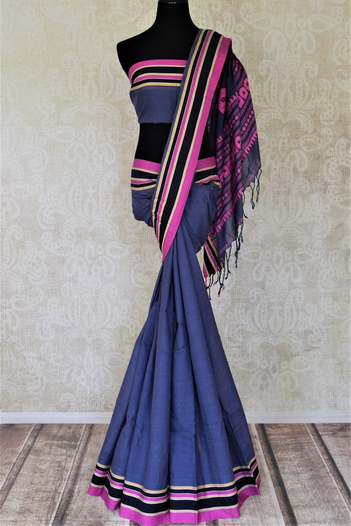 Buy elegant dark grey Bhagalpuri linen saree online in USA. Shop handowoven silk sarees, designer saris, linen sarees, embroidered sarees in USA from Pure Elegance Indian saree store in USA.-full view