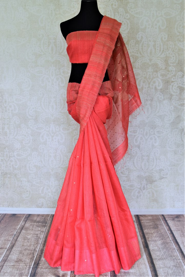Shop beautiful tomato red matka silk saree online in USA with sequin work. Shop handowoven silk sarees, designer saris, linen sarees, embroidered sarees in USA from Pure Elegance Indian saree store in USA.-full view