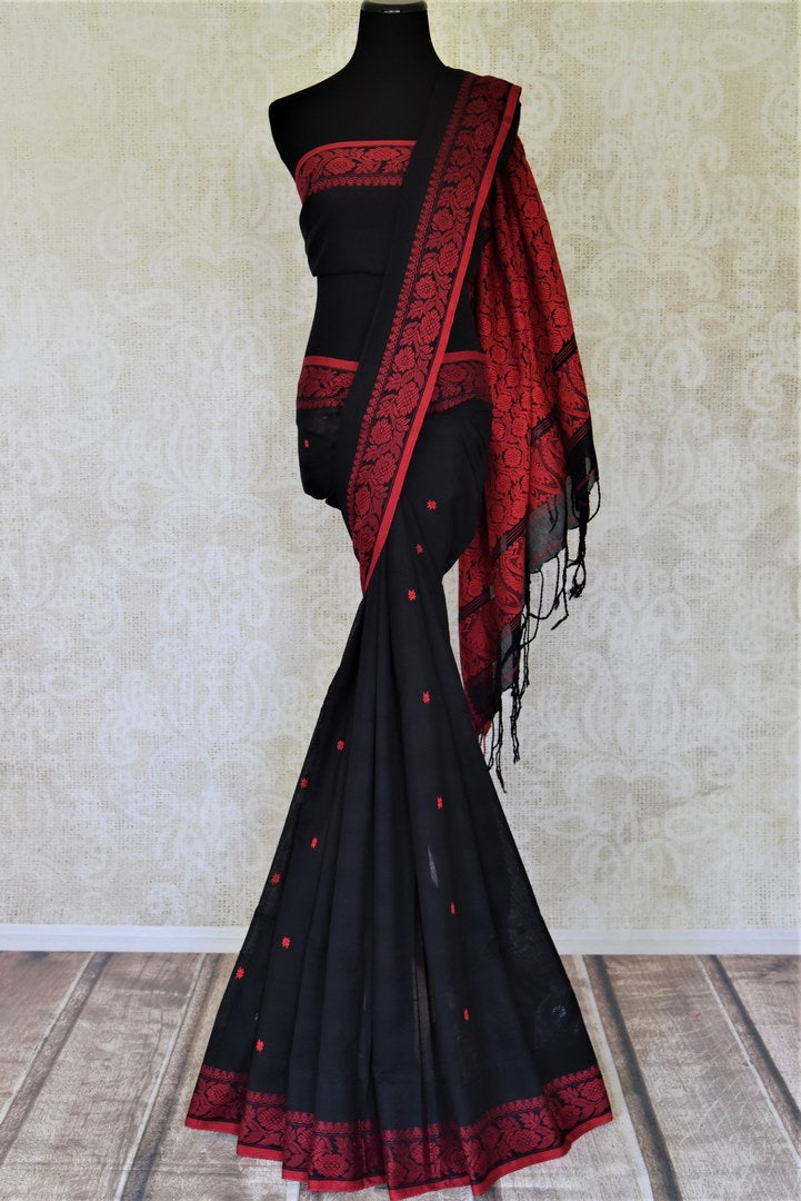 Buy beautiful black cotton mulmul saree online in USA with red weave pallu. Shop stunning handwoven sarees, cotton saris, linen sarees from Pure Elegance Indian fashion store in USA.-full view