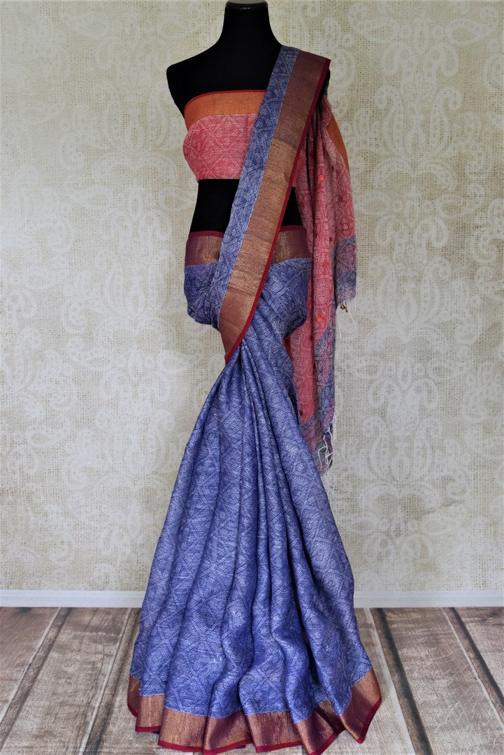 Shop stunning indigo blue and red jacquard linen saree online in USA. Shop stunning handwoven sarees, cotton saris, linen sarees from Pure Elegance Indian fashion store in USA.-full view