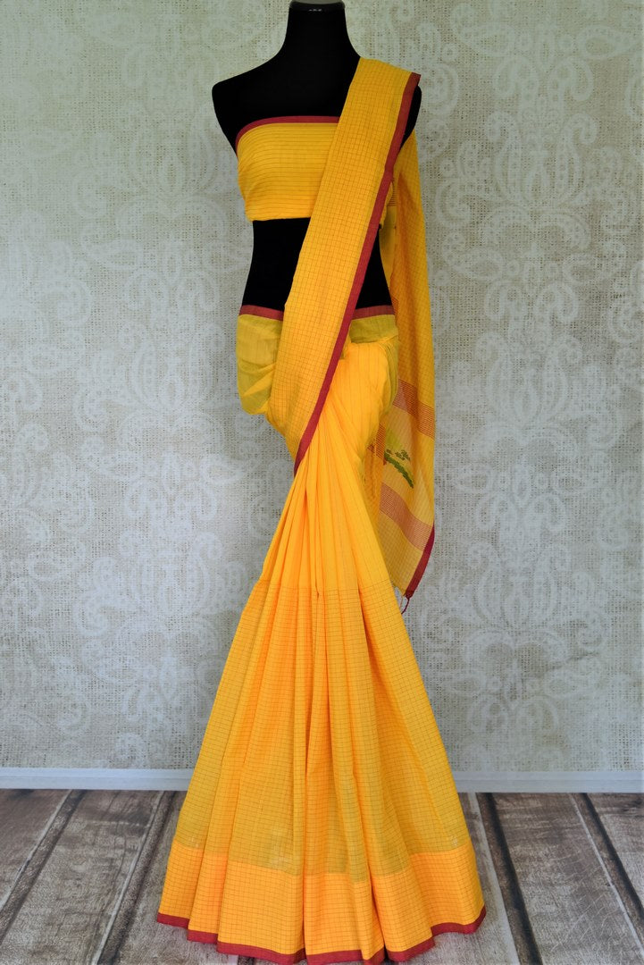 Shop lovely yellow check linen saree online in USA. Shop stunning handwoven sarees, cotton saris, linen sarees from Pure Elegance Indian fashion store in USA.-full view