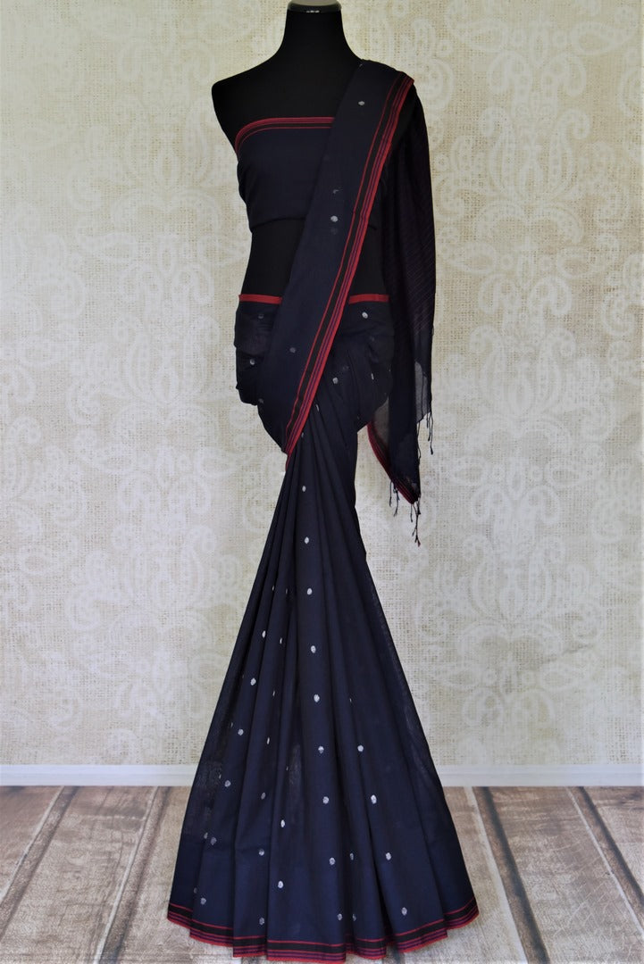 Buy stunning navy blue cotton linen saree online in USA with weave buta. Shop stunning handwoven sarees, cotton saris, linen sarees from Pure Elegance Indian fashion store in USA.-full view