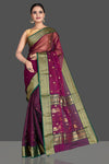 Shop beautiful purple chanderi silk saree online in USA with green zari border. Buy gorgeous Indian designer sarees, pure handwoven sarees, zari work sarees, Maheshwari sarees, chanderi saris in USA from Pure Elegance Indian fashion store.-full view