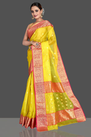 Buy gorgeous light yellow chanderi silk saree online in USA with pink zari border. Buy gorgeous Indian designer sarees, pure handwoven sarees, zari work sarees, Maheshwari sarees, chanderi saris in USA from Pure Elegance Indian fashion store.-pallu