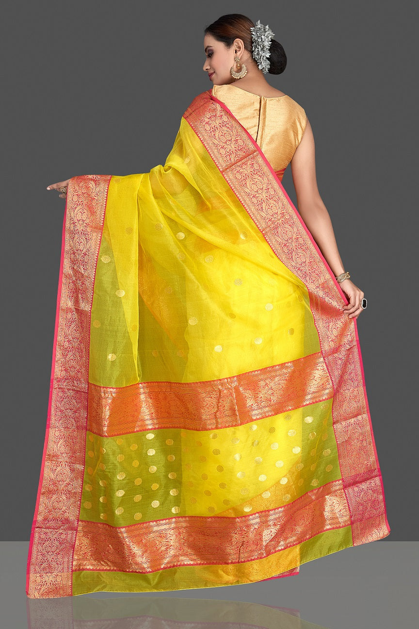Buy gorgeous light yellow chanderi silk saree online in USA with pink zari border. Buy gorgeous Indian designer sarees, pure handwoven sarees, zari work sarees, Maheshwari sarees, chanderi saris in USA from Pure Elegance Indian fashion store.-back