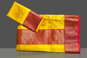 Buy gorgeous light yellow chanderi silk saree online in USA with pink zari border. Buy gorgeous Indian designer sarees, pure handwoven sarees, zari work sarees, Maheshwari sarees, chanderi saris in USA from Pure Elegance Indian fashion store.-blouse