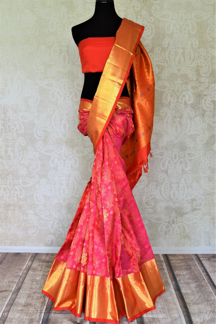 Shop gorgeous bright pink overall zari work Kanjivaram saree online in USA. Shop exquisite Indian sarees, Kanchipuram silk sarees, pure zari work sarees in USA from Pure Elegance Indian saree store in USA.-full view