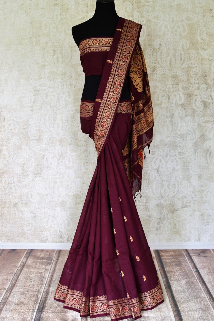 Shop stunning plum color Baluchari cotton saree online in USA. Look beautiful on special occasions with beautiful Jamdani sarees, cotton sarees, soft silk sarees, handwoven sarees in from Pure Elegance Indian saree store in USA.-full view