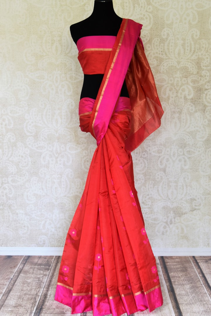 Buy stunning red chanderi silk saree online in USA with solid pink border. Shop beautiful handowoven saris, chanderi sarees, Maheshwari sarees, pure silk sarees, Banarasi sarees online in USA from Pure Elegance Indian fashion store.-full view