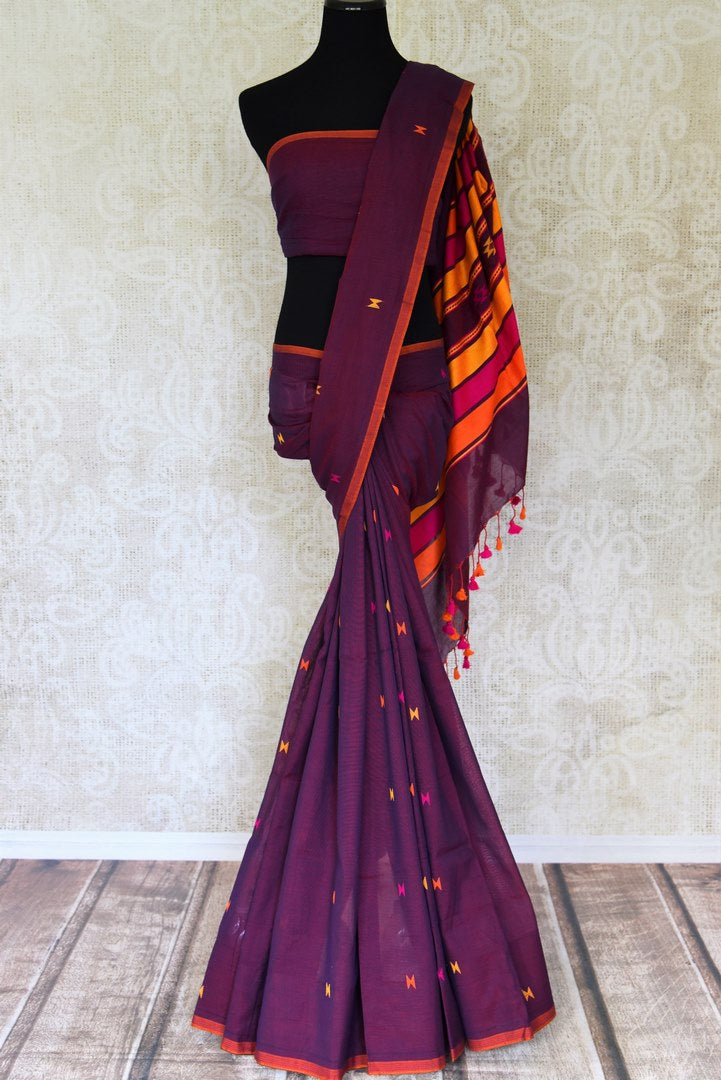 Buy gorgeous purple Bengal cotton saree online in USA. Look beautiful on special occasions with exquisite Jamdani sarees, cotton sarees, soft silk sarees, handwoven sarees in from Pure Elegance Indian saree store in USA.-full view