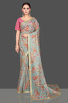 Buy stunning tea green floral organza saree online in USA with pink embroidered sari blouse. Look glamorous at parties and weddings in stunning designer sarees, embroidered sareees, fancy sarees, Bollywood sarees from Pure Elegance Indian saree store in USA.-full view