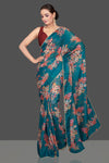 Buy beautiful sea green floral organza saree online in USA with maroon sari blouse. Look glamorous at parties and weddings in stunning designer sarees, embroidered sareees, fancy sarees, Bollywood sarees from Pure Elegance Indian saree store in USA.-full view