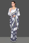 Buy gorgeous grey polka dot sequin georgette saree online in USA with designer sari blouse. Look glamorous at parties and weddings in stunning designer sarees, embroidered sareees, fancy sarees, Bollywood sarees from Pure Elegance Indian saree store in USA.-full view
