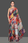 Shop beautiful multicolor print linen sari online in USA. Look glamorous at parties and weddings in stunning designer sarees, embroidered sarees, fancy sarees, Bollywood sarees, linen sarees from Pure Elegance Indian saree store in USA.-full view