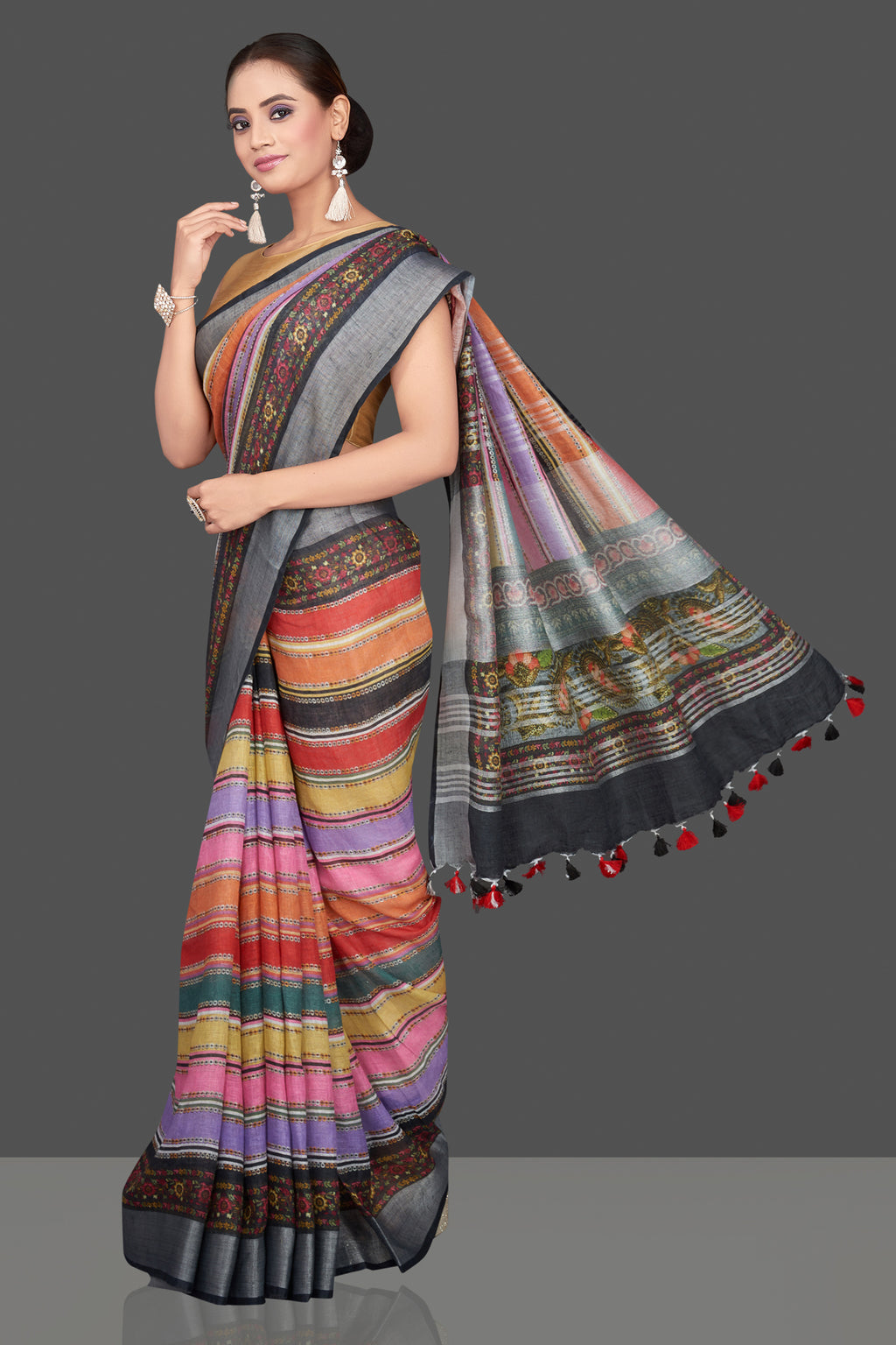 Shop beautiful multicolor striped linen sari online in USA. Look glamorous at parties and weddings in stunning designer sarees, embroidered sarees, fancy sarees, Bollywood sarees, linen sarees from Pure Elegance Indian saree store in USA.-full view