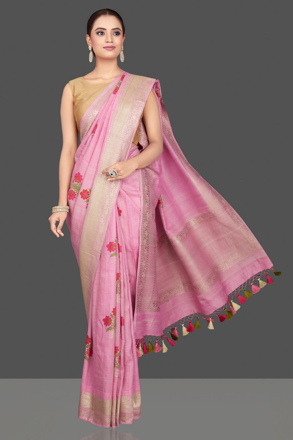 Shop gorgeous light pink tussar georgette sari online in USA with floral weave buta and silver zari border. Look gorgeous on special occasions with exquisite Indian sarees, handwoven sarees, Banarasi sarees, pure silk sarees from Pure Elegance Indian saree store in USA.-full view