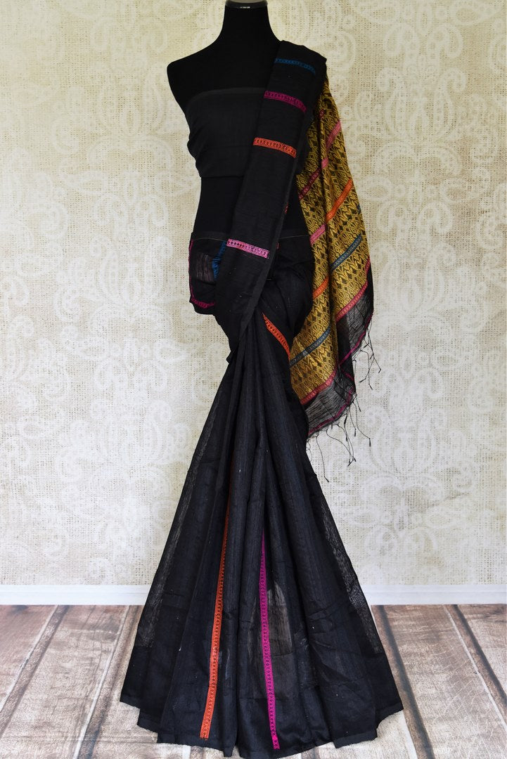 Shop stunning black matka silk saree online in USA with weave pallu. Look gorgeous on special occasions with exquisite Indian sarees, handwoven saris, Banarasi sarees, pure silk sarees from Pure Elegance Indian saree store in USA.-full view
